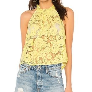 FP Sweet Meadow Dreams Lace Top in Chartreuse